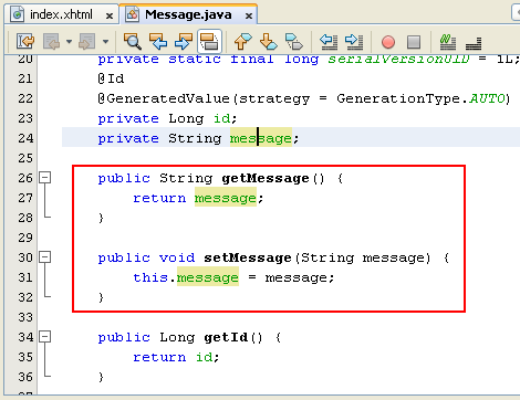 NetBeans IDE: selecting the Java web application project,the Getter and Setter methods