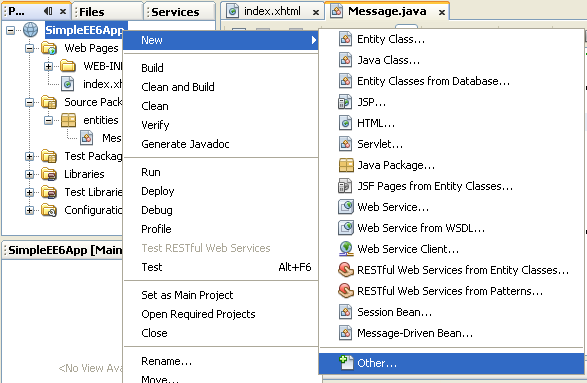 NetBeans IDE: selecting the Java web application project, invoking the New - Others Java component menu