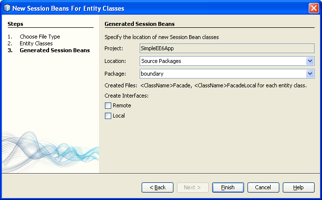 NetBeans IDE: selecting the Java web application project, the generated session bean template files