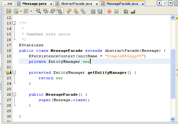 NetBeans IDE: selecting the Java web application project, the generated persistence entity source code template