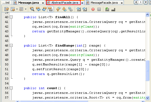 NetBeans IDE: selecting the Java web application project, the generated source code for commonly used default query methods