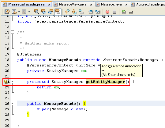 NetBeans IDE: selecting the Java web application project, resolving the warning
