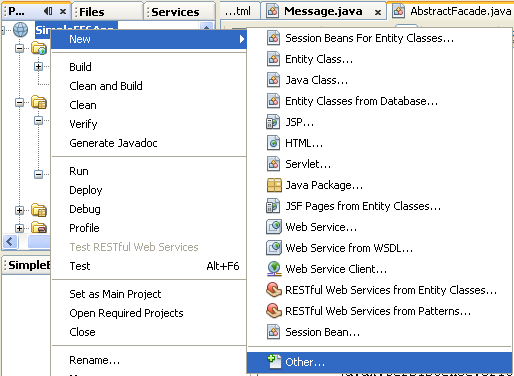 NetBeans IDE: selecting the Java web application project, invoking the New - Other Java project component