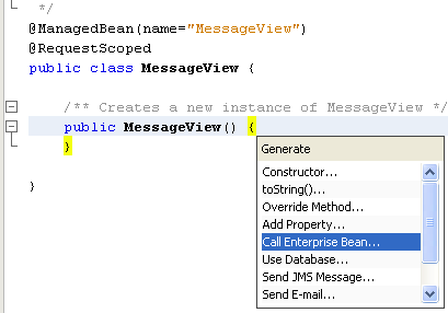 NetBeans IDE: selecting the Java web application project, selecting the Call Enterprise Beans source code