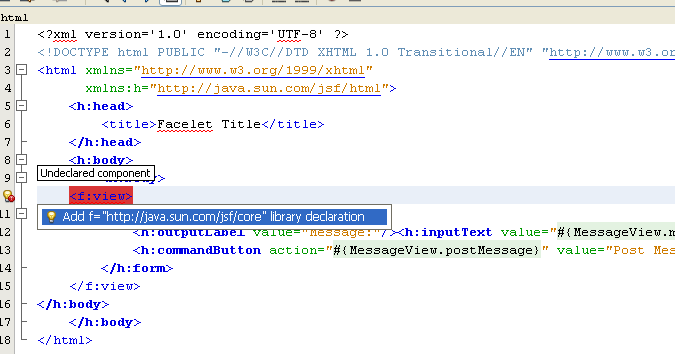 NetBeans IDE: selecting the Java web application project, selecting the java tag library