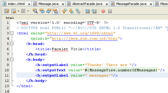 NetBeans IDE: selecting the Java web application project, adding new source code to the JSF file