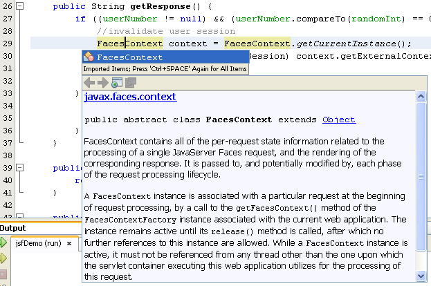 Invoking the NetBeans java code-completion suggestions and documentation support