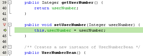 The Java debugger is suspended within the setUserNumber() method