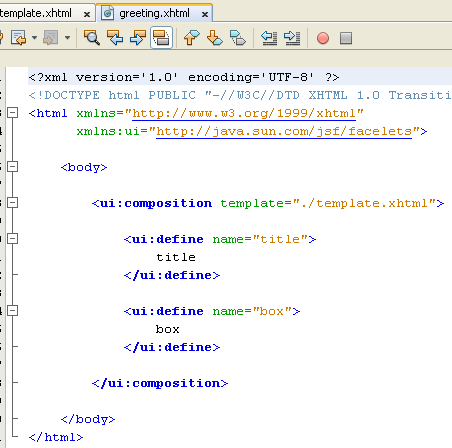 The content of the new greeting.xhtml file