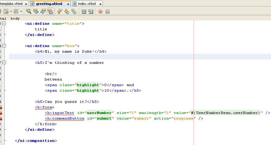 The new greeting.xhtml source code taken from index.xhtml file