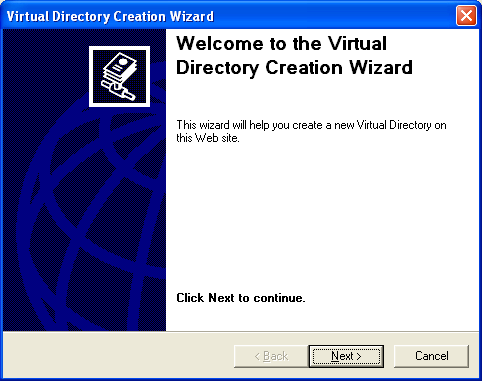IIS virtual directory creation wizard welcome page