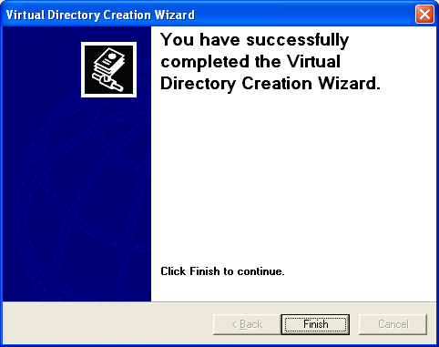 The IIS virtual directory creation wizard completion page