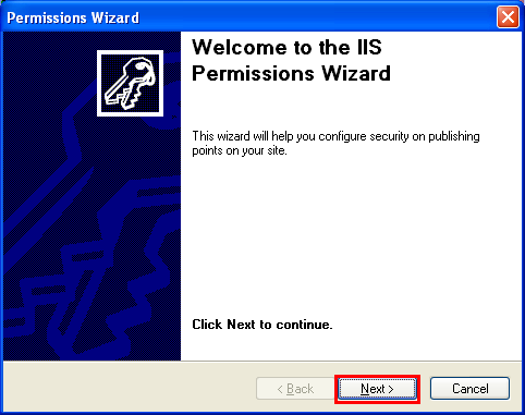 The IIS permission wizard welcome page