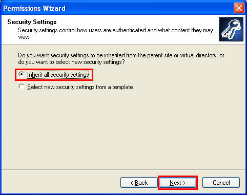 The IIS permission wizard setting - inheriting all the parent security settings