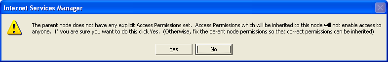 The message of explicit Access Permission parent node doesn't have any
