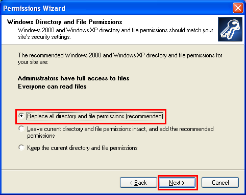 Setting the IIS directory and file permission using IIS permission wizard