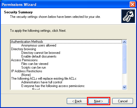 The IIS permission wizard summary setting