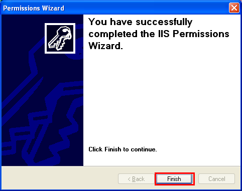 The IIS permission settings were completed successfully
