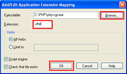 The IIS .PHP extension settings