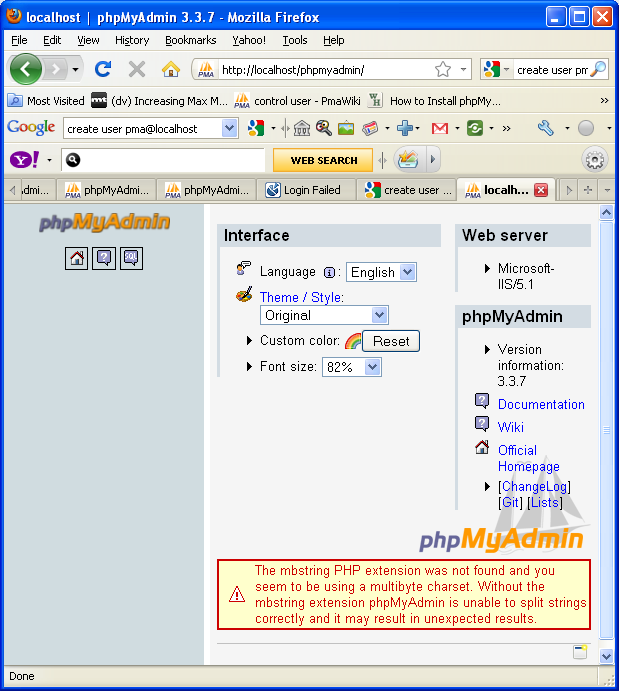 phpmyadmin in action with mbstring PHP extension warning message