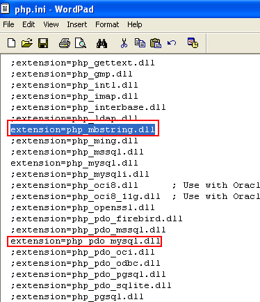 Activating the mbstring and php_pdo_mysql PHP module extensions