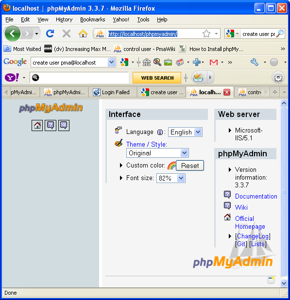 phpmyadmin in action without mbstring error