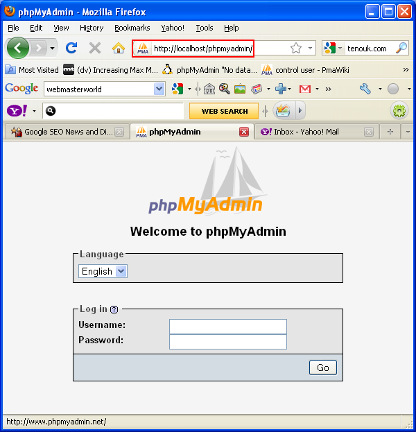 The phpmyadmin login page