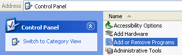 Invoking the Windows Add or Remove Programs page