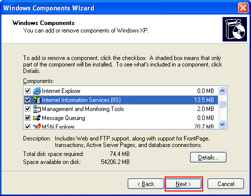 Back to Windows Component Wizard with the component and sub component have been selected