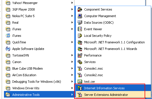 The Internet Information Service (IIS) short cut is visible in Administrator Tools