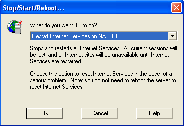 Restarting IIS service prompt message box