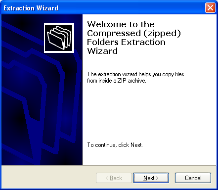 ZIP file extraction wizard welcome page