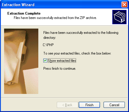 The PHP ZIP extraction file completed