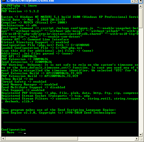 Running php on Windows command prompt - php -i