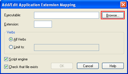 The Default Web Site property page of IIS - Adding the application extension mapping for .PHP