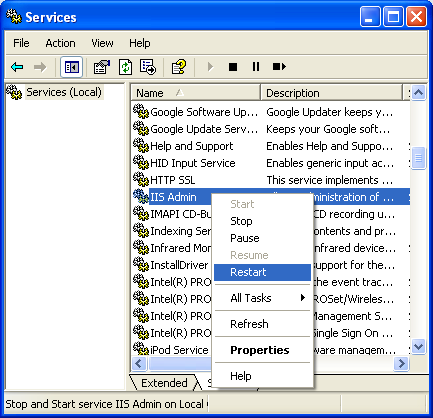 The Default Web Site property page of IIS - restarting the IIS server and related services
