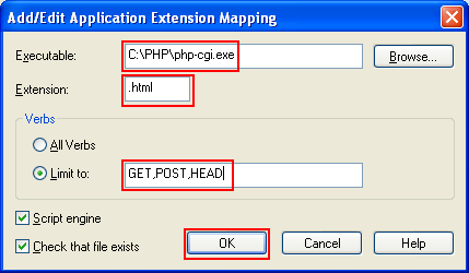 Adding the mapping so that the .HTML file also can be parsed by php-cgi.exe (PHP engine)