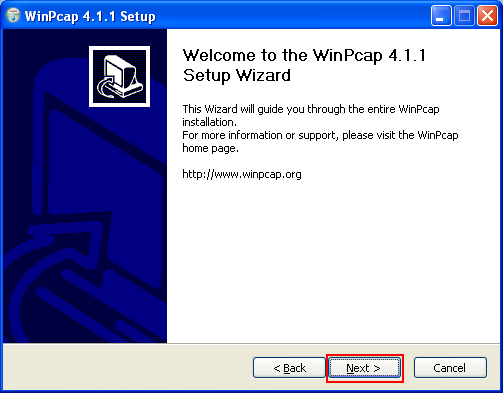 The WinPcap setup wizard welcome page