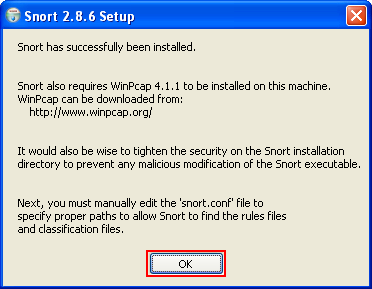 Snort installation for Windows was completed successfully