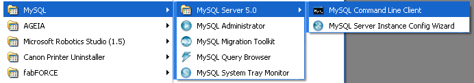 Launching mysql command prompt