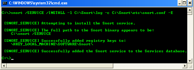 Running Snort command to install Snort as Service