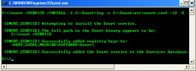 Another example on how to install Snort as Windows service