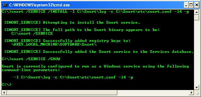 More example on installing Snort as the Windows service