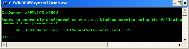 Viewing Snort service from Windows command line