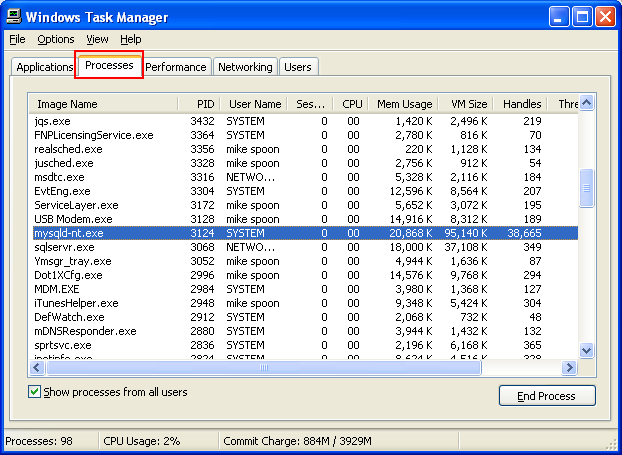 Snort service should be visible in Windows Task Manager if the service started successfully