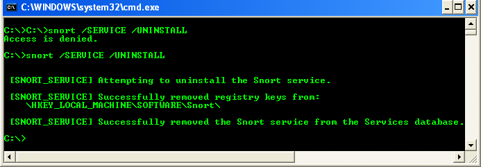 Uninstall Snort service from Windows command line