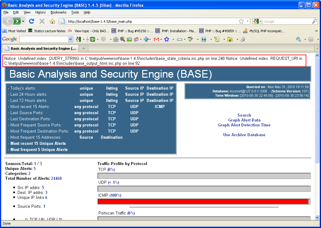 Basic Analysis and Security Engine (BASE) in action loaded through Internet browser