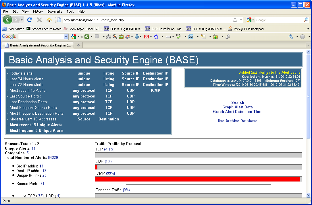 Reloading Basic Analysis and Security Engine (BASE) through Internet browser