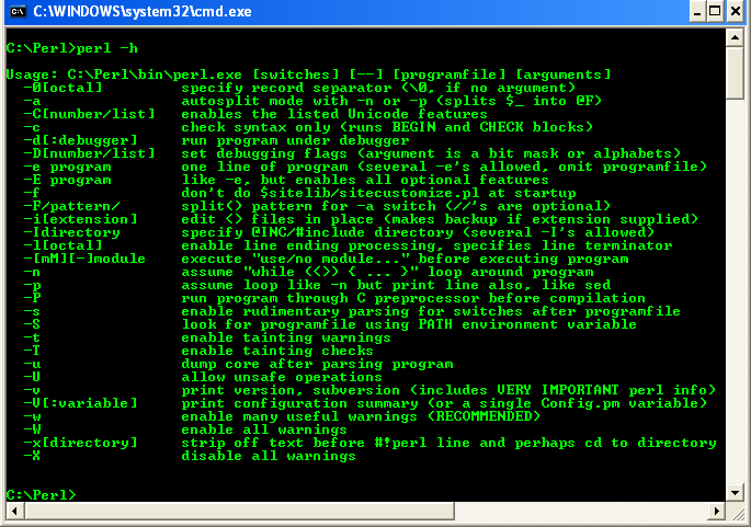 Activeperl perl for windows running perl command with for Perl script template
