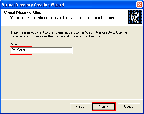 ActivePerl, Perl for Windows - setting up the virtual directory alias name to PerlScript